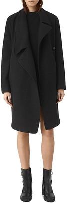 ALLSAINTS Ellis Asymmetric Wool Coat $620 thestylecure.com