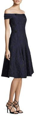Carmen Marc Valvo Off-The-Shoulder Brocade Dress $680 thestylecure.com