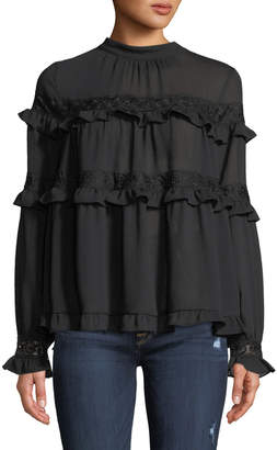 Lumie Ruffle-Tiered Embroidered Peasant Blouse