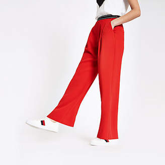 24bdd00909921 River Island Red elasticated waist wide leg pants
