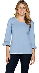 Denim & Co. 3/4 Sleeve Top with Ruffle Cuffsand Lace Trim