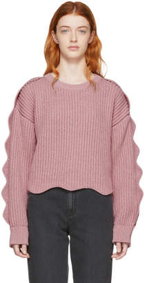 Stella McCartney Pink Scalloped Crewneck Sweater