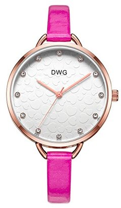 b95eb83f71 DWG 腕時計 細身バンド クリスタル ローズピンク 丸い文字盤 エレガント おしゃれ かわいい 誕生日 卒業