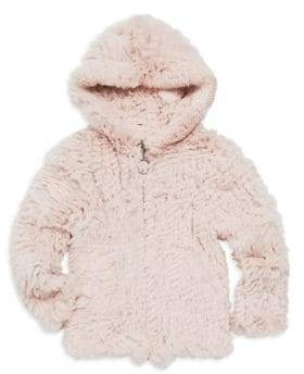 Adrienne Landau Little Girl's& Girl's Rabbit Fur Hoodie