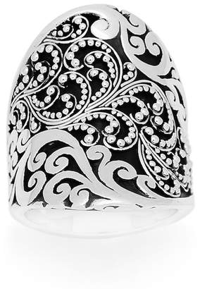 Lois Hill Sterling Silver Filigree Design Curved Oval Ring - Size 6