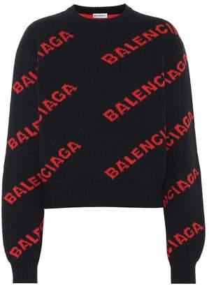 Balenciaga Logo intarsia wool-blend sweater