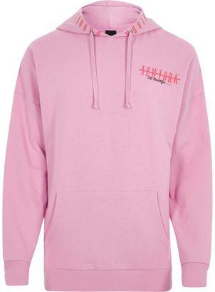 Mens Pink 'New York' print hoodie