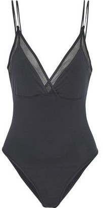 Skin Tulle-trimmed Cutout Stretch-cotton Jersey Bodysuit