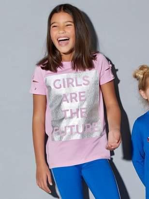 M&Co Slogan cut out sleeve t-shirt