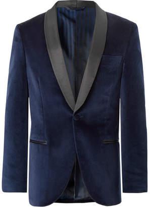 Piombo MP Massimo Navy Slim-Fit Grosgrain-Trimmed Cotton-Velvet Tuxedo Jacket