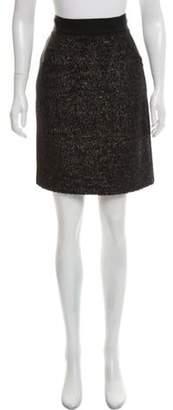 J. Mendel Textured Knee-Length Skirt Black Textured Knee-Length Skirt