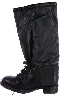Chanel CC Lace-Up Knee Boots w/ Tags