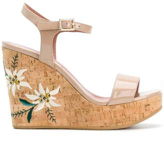 Bally Caelie embroidered wedge sandals