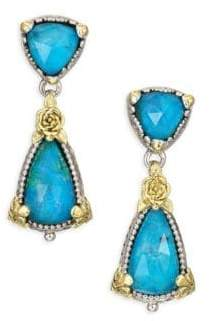 Konstantino Iliada Chrysocolla, Quartz, 18K Yellow Gold, Sterling Silver Double Ring Drop Earrings