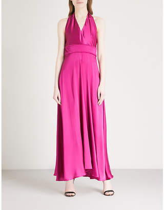 Maje Rivoine halterneck silk-satin maxi dress