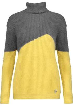 Versace Two-Tone Ribbed-Knit Turtleneck Sweater