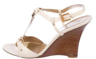 Valentino Leather Ankle Strap Wedges
