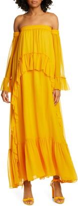 AMUR Odessa Off the Shoulder Polka Dot Silk Maxi Dress