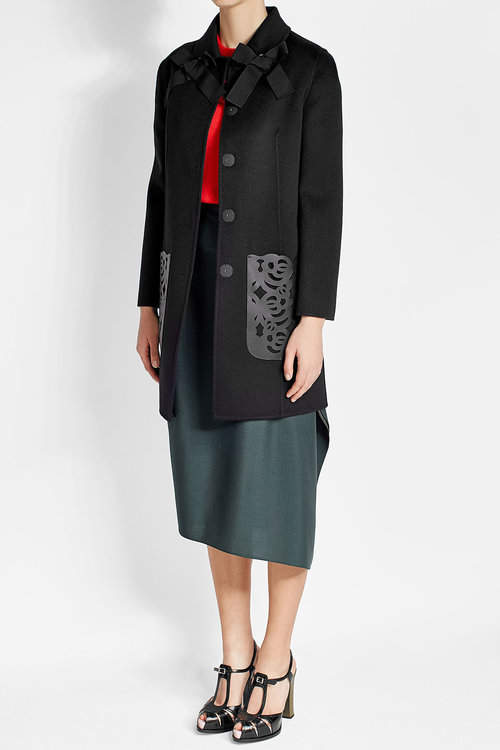 Fendi Wool Coat with Leather Pockets