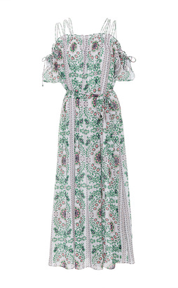 Tory Burch Asilomar Open Shoulder Printed Midi Dress $650 thestylecure.com