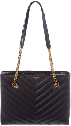 Saint Laurent Tribeca Grain De Poudre Embossed Leather Shopping Tote