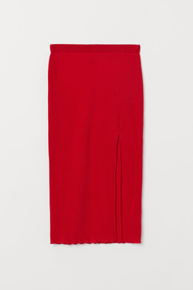 H&M Pleated Jersey Skirt - Red