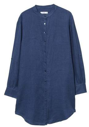 MANGO Mao collar linen shirt