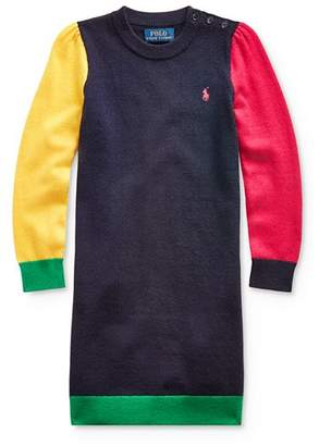 Ralph Lauren Girls' Color-Block Sweater Dress - Little Kid