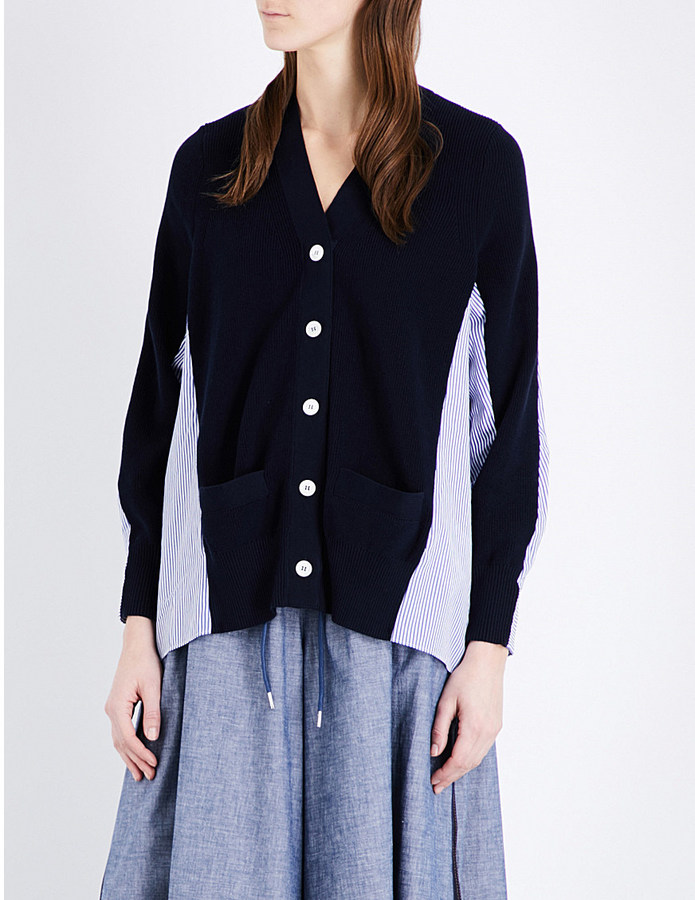 SACAI Contrast-back knitted and woven cardigan