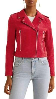 MANGO Huntress Suede Biker Jacket