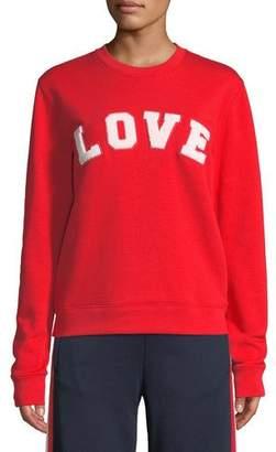 Tory Sport Love Crewneck Long-Sleeve Cotton Terry Sweatshirt