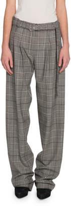 Proenza Schouler Glen-Plaid Exaggerated-Leg Pants