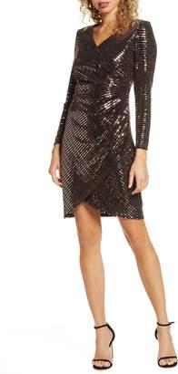 Morgan & Co. Sequin Embellished Long Sleeve Faux Wrap Dress