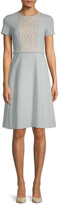 Max Mara Ecru Embroidered Short-Sleeve Dress