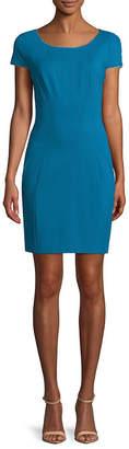 T Tahari Pepita Cap-Sleeve Sheath Dress