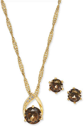 """Charter Club Gold-Tone Pave and Stone Pendant Necklace & Stud Earrings Set, 15"""" + 3"""" extender"""