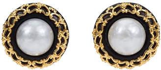 One Kings Lane Vintage Chanel Leather & Pearl Brocade Earrings