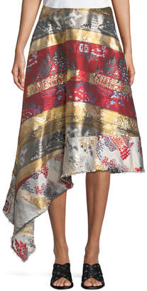 ADAM by Adam Lippes Silk-Lame Jacquard Side-Drape Skirt