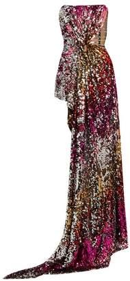 Halpern - Sequin Embellished Draped Bustier Top - Womens - Pink Multi