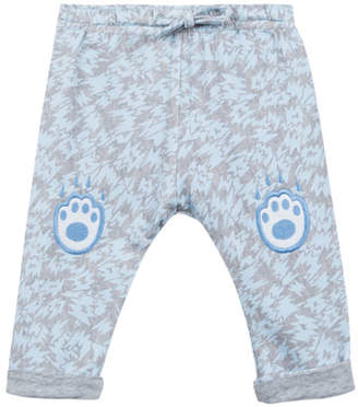 Kenzo Animal-Print Fleece Pants w/ Logo Embroideries, Size 12-18 Months