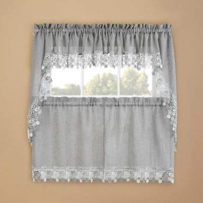 Lillian Kitchen Window Swag Pair in Grey