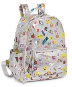 Bari Lynn Emoji-Print Glitter Backpack