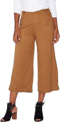 Lisa Rinna Collection Faux Suede Culottes with Zipper Detail