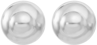 Italian Silver Polished Double Ball Stud Earrings