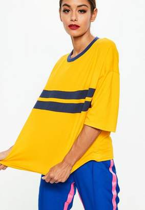 Missguided Yellow Drop Shoulder Color Block T-Shirt