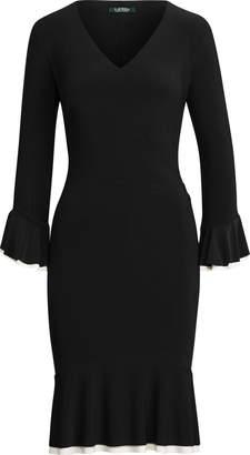 Ralph Lauren Contrast Ruched Jersey Dress
