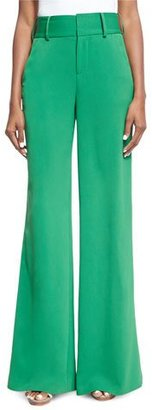 Alice + Olivia Paulette High-Waist Wide-Leg Pants, Green $295 thestylecure.com