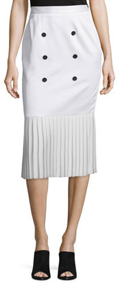 Edun Button-Front Pleated-Hem Skirt, White $790 thestylecure.com