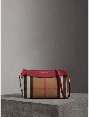 Burberry House Check and Leather Clutch Bag, Red