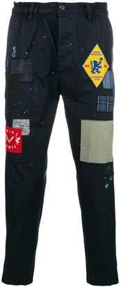 DSQUARED2 distressed patchwork cropped trousers